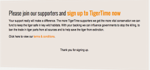 I sing up in tigertime to show my supports toward this animal.